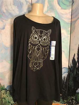 Just My Size Plus 4X New Black Owl Graphic Ruched Sides Long Sleeve Tunic Top