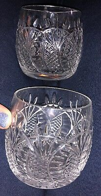 """PAIR Waterford Seahorse Double Old Fashioned Crystal Glasses 3.5"""" Tall"""