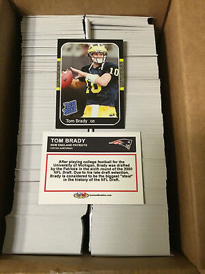 Lot of 1000+/- CUSTOM ACEO Tom Brady 1987 Style Rated Rookies Patriots Rookie RC