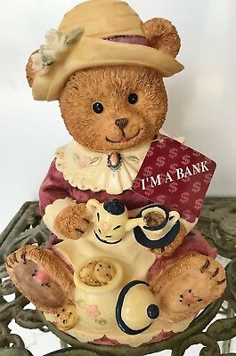 Vintage PIGGY BANK Ceramic Lady Bear Tea Party Coin COLLECTIBLE New