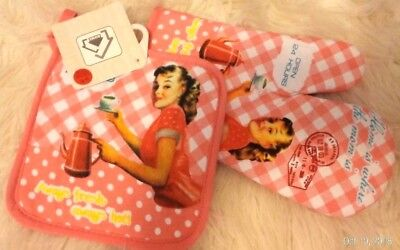 Rare Vintage Shabby Girl Chic Serving Coffee Kitchen Pink Pot Holder & Oven Mitt