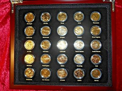 24k GOLD PLATED USA STATE QUARTER DOLLAR 50 Coin BOXED SET Very RARE