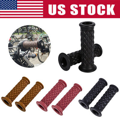 "US 7/8"" 22mm Handle Bar Motorcycle Hand Grips Grip Handlebar End Fit Cafe Racer"