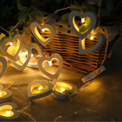 10 LED Party Garland Fairy String Lights Heart Wood Wedding Party Garden Decor