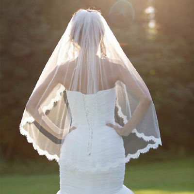 US New Fashion Wedding Veil White One-tier Elbow Veils Lace Applique Edge
