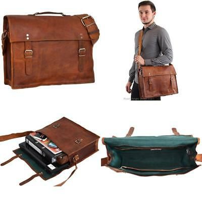 Mike Genuine Leather Satchel Cross Body Shoulder Laptop Briefcase College Uni 17