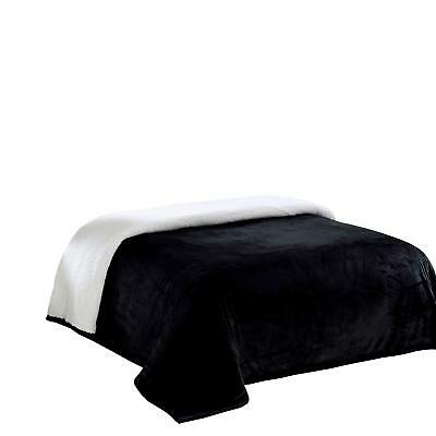 Chezmoi Collection FS200 Micromink Sherpa Reversible Throw Blanket Queen Black