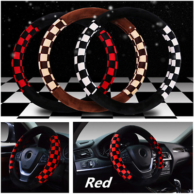 """Universal 15"""" 38cm Warm Comfy Plush Black Red Car Steering Wheel Cover Protector"""