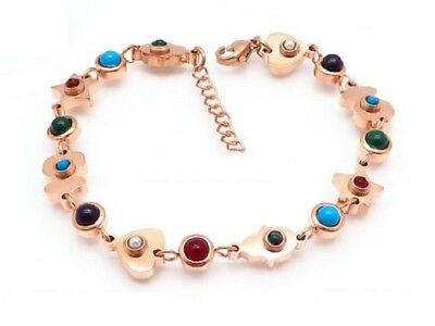 High quality Stainless steel Inlaid Turquoise agate Chalcedony Bear Bracelets