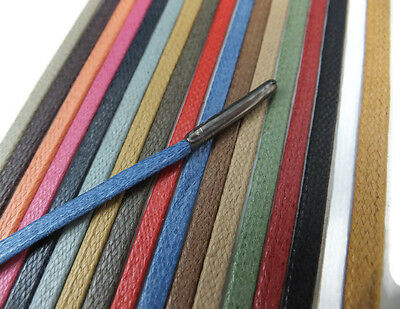 4mm Flat Waxed Cotton METAL TIPPED Shoelaces Excellent Quality Oxford Brogue