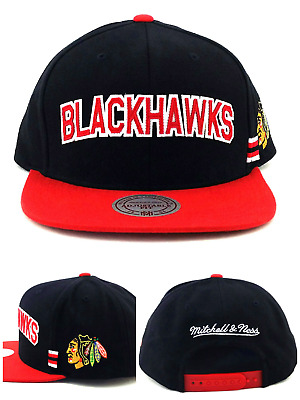 Chicago Blackhawks New Mitchell & Ness Wordmark Black Red Era Snapback Hat Cap