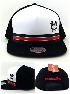 Chicago Blackhawks New Mitchell & Ness Panel Strp Black Red Era Snapback Hat Cap