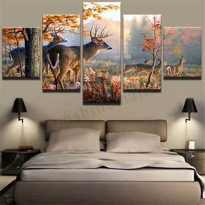 5pc Deer In The Forest Art Oil Painting Canvas Print Wall Art Picture Home Decor