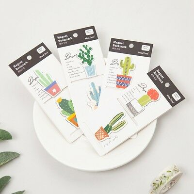2pcs /set Fresh Cute Cactus Magnetic Bookmarks of Page Student Stationery Supply