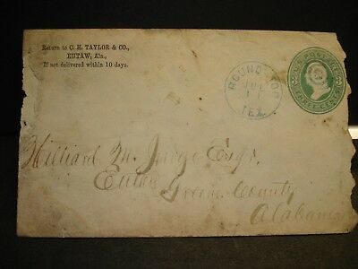 1880's ROUND TOP, TEXAS Postal History Cover to EUTAW, GREENE County, ALABAMA