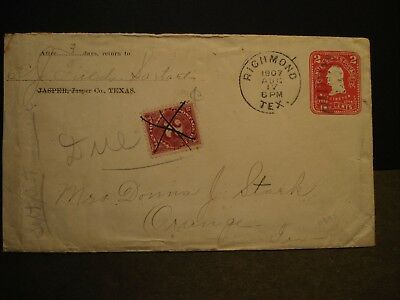 RICHMOND, TEXAS 1907 Postal History Cover POSTAGE DUE to ORANGE, TX
