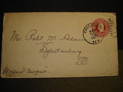 COLUMBUS, TEXAS 1917 Postal History Cover to WOFFORD College, SPARTANBURG, SC
