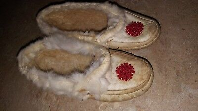 Antique Vintage Child's Leather Rabbit Fur Hand Red Beaded  Moccasin 6 X 2""