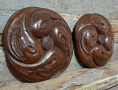 CARVED WOOD PANEL MATCHED PAIR ANTIQUE FRENCH GOTHIC ROSACE SALVAGED CARVING a