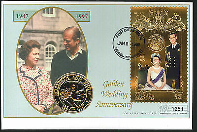 1999 Golden Wedding Coin FDC - 5 Crowns Coin & Grenada,Grenadines Pmk