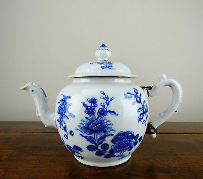 Antique Chinese Porcelain Teapot Blue and White Flowers 18th Century Qianlong