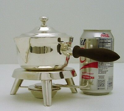 Mexico Sterling Silver Single Serve Sauce Pot with Stand, Warmer & Wood Handle