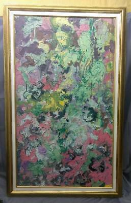 Vintage Expressionist Abstract Oil Painting Signed Mid Century Modern Jan McEvoy