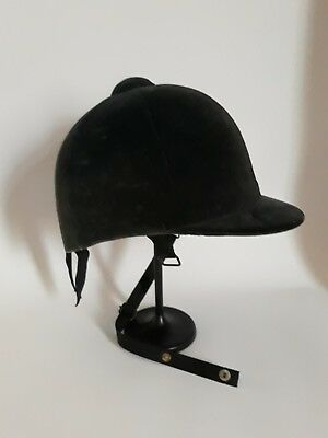 Vintage Tress Co Horse Riding Helmet, 6 - 3/4 Black