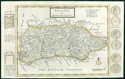 1733 - Rare Original Antique Map of SUSSEX by Herman Moll hand coloured (22)