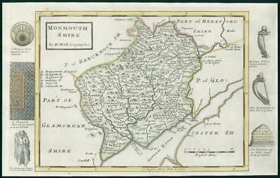 1733 - Rare Antique Map of MONMNOUTHSHIRE Wales by Herman Moll Hand Colour (38)