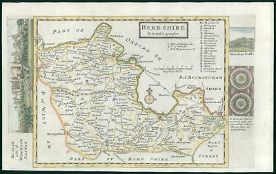 1733 - Rare Original Antique Map of BERKSHIRE by Herman Moll hand coloured (23)