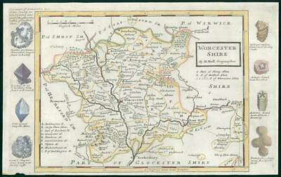 1733 - Rare Antique Map of WORCESTERSHIRE by Herman Moll hand coloured (18)