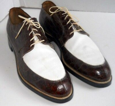 ~NETTLETON~VINTAGE~ALLIGATOR/WHITE~SPECTATOR~TWO TONE~Mens Shoes~9.5 C~Algonquin