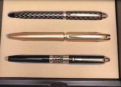 Beautiful Montefiore Pen Set Includes 3 Pens And Black Lacquer Display Box.
