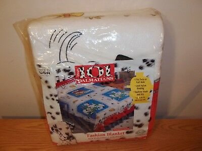 Vtg New Unopened DISNEY 101 DALMATIANS Twin/Full Size Bed BLANKET Made In USA