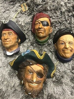 4 Bossons chalkware heads Pirates Captain Morgan Smugglers Boatman As Is Chips