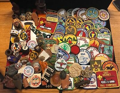 Large Group Of Vintage Boy Scout Slides And Patches (WW)