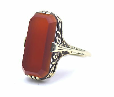 Antique Victorian Carnelian Long Tablet Ring Filigree 10K Yellow Gold Size 8.5