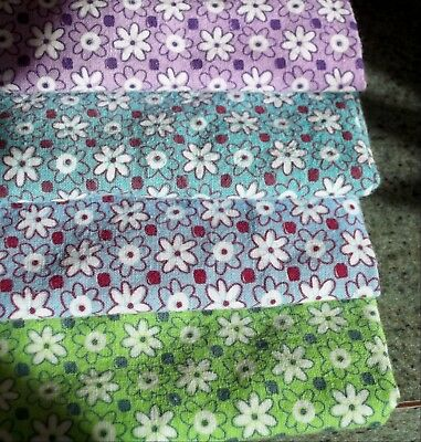 Vintage GREEN Feed Sack Feedbag Quilt Fabric Small Green White Flowers Floral