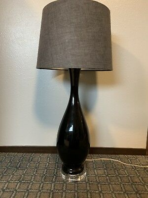 Mid Century Modern Black Table Lamp Light Lucite Base Approx. 2' Tall MCM