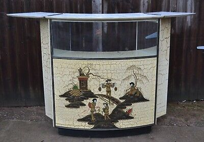 1950s 60s Curved Retro Cocktail Drinks Bar Unit Fold Out Chinoiserie Panel Cool!