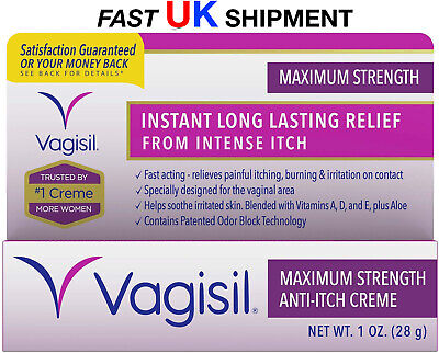 VAGISIL Maximum Strength Instant ANTI-ITCH Vaginal Crème, 1oz (28g) UK FAST POST