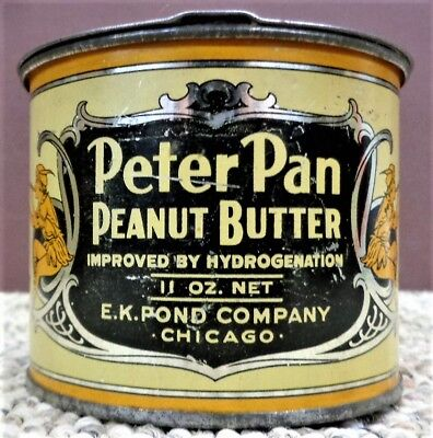 Antique Peter Pan Peanut Butter Tin Litho 11Oz Can Vintage Country Grocery Store