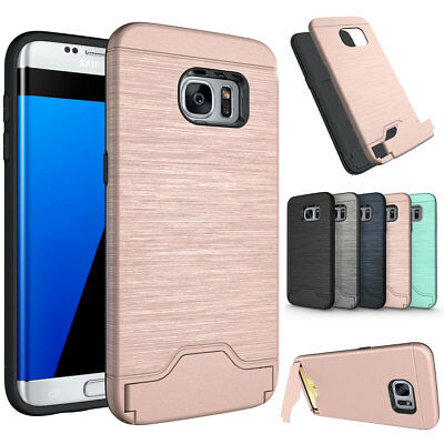 Shockproof Hard Armor with Stand Card Slot Case For Samsung Galaxy S7 S8 Edge