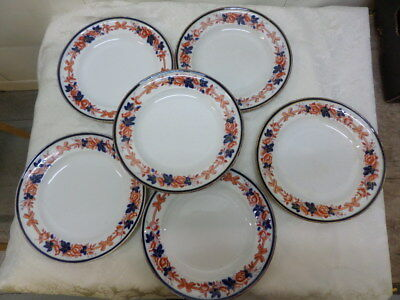 6 Old Vintage Dinner Plates - Roses With Ribbons And Bows - Stamped Iv G K .. 26