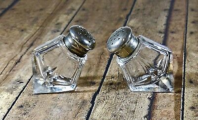 Vintage Clear Glass Wedge Style Salt and Pepper Shakers With Stainless Tops
