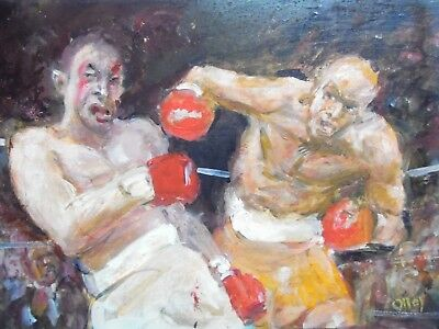 A Boxing Match, Modern Oil by Ron Olley. Listed