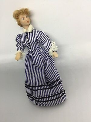 Vintage Posable Doll Stuffed Body & Bisque Arms & Legs Victorian Outfit