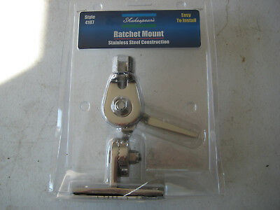Shakespeare 4187 Stainless Steel Ratchet Mount VHF Antenna Base -New- Lay Down