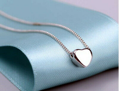 Heart Charm Pendant 925 Sterling Silver Chain Necklace Womens Jewellery Gifts UK